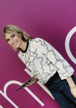 Anna Billo, Italian journalist of Sky Sport wearing Giorgio Grati chain print shirt.