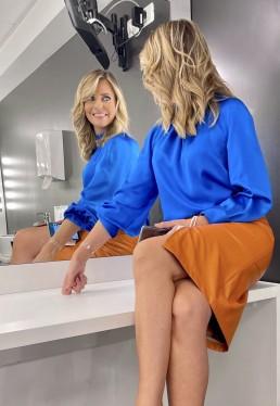 """Alessandra Viero,TV journalist, wearing Giorgio Grati fall winter 21-22 collection. """"Quarto Grado"""" talk show TV - Rete4"""