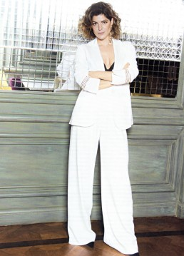 The Italian actress Bianca Nappi wearing Giorgio Grati white tuxedo. Vanity Fair Italia