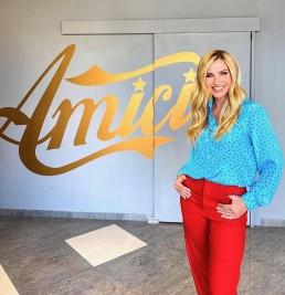 "Italian TV presenter, dancer, singer and actress Lorella Cuccarini wearing Giorgio Grati blue stars shirt. Talent Show ""AMICI"" Canale5   September 26th 2021"